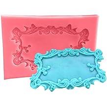 3D Espejo Marco Fondant Cake Stencils Holiday Chocolate Pan Molde de Cocina Herramientas de decoración de