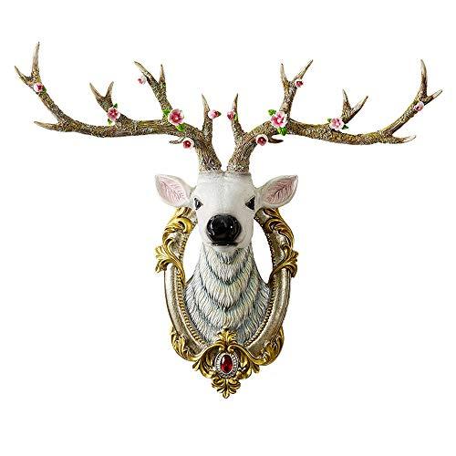 YSYDE Hirsch Kopf Wandbehang, Faux Präparatoren Tierkopf Wanddekoration, handgemachte Bauernhaus Dekor, schön und langlebig, einfach und stilvoll, Inneneinrichtung (Europäische Schädel-mount)