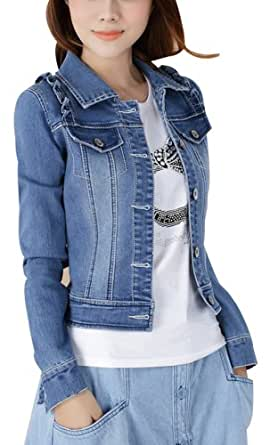 Women Ladies Girls Slim Fitted Turn-Down Collar Button up Long Sleeve Denim Light Wash Faded Colour Blue Jacket Jean Jacket UK 6