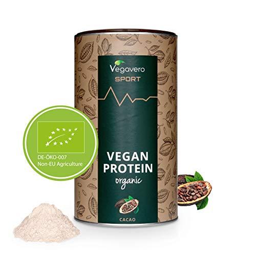 VEGAVERO® SPORT Vegan Protein Pulver | Schokolade | 100% VEGAN & BIO Eiweißpulver | Mit BCAA | Leicht löslich | 3 Geschmacksrichtungen | Frei von Allergenen | Ohne künstliche Süßungsmittel | 500 g