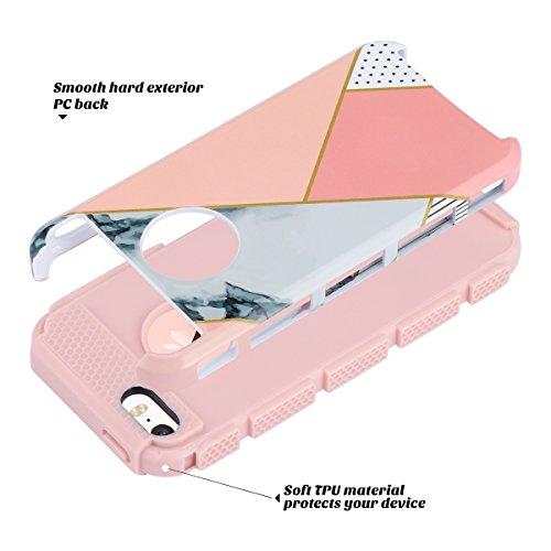 iPhone 5s SE Hülle, ULAK iPhone 5S Case Dual Layer Hybrid Schutzhülle Hart PC + TPU Weiche Stoßfest Tasche Case Cover für Apple iPhone 5/5S/SE (Roségold Stipes + Grau) Roségold Stipes + Grau