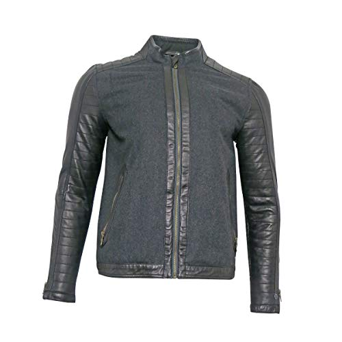 Cast iron Herren Lederjacke Bikerjacke Schwarz Grau Jacke für Männer, Größe:XL