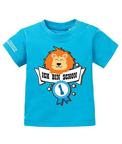 Jayess Baby Shirt Jungen zum 1 Geburtstag - ich Bin Schon 1 - Löwe Abzeichen - in Blau Gr. 80/86 (1. Jungen-geburtstag Shirt)