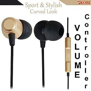 Jkobi Ear Fit In Ear Buds Metal Volume Control Earphones Handsfree Compatible For AlcatelOne Touch Hero -Gold