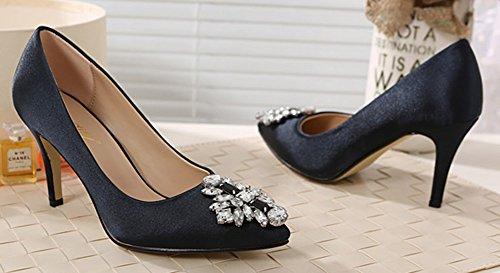 Cetim Sapatos Hocher Elegantes Agulha Pretos Senhoras Aisun Pontas Strass Salto 5RWB4xvqw
