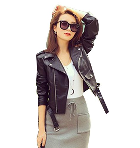 Femmes Veste en simili cuir Zipper Manteau Court Veste Blazer à Manches Longues L No
