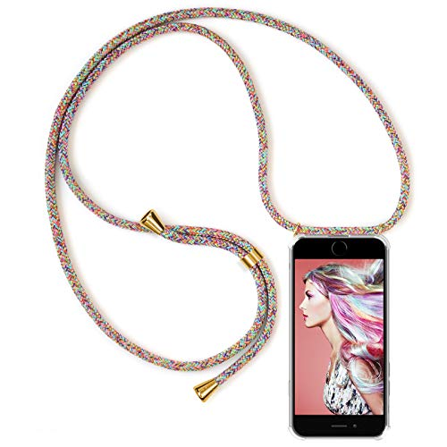 "ZhinkArts Handykette kompatibel mit Apple iPhone 7 / iPhone 8-4,7"" Display - Smartphone Necklace Hülle mit Band - Schnur mit Case zum umhängen in Rainbow"