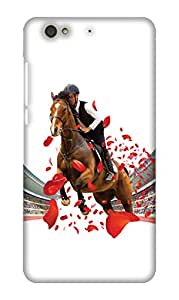 PrintHaat Designer Back Case Cover for Gionee S6 (horse rider in the stadium :: public applaud for the winner house :: love horse racing :: race course :: happiest winning moment :: in red, brown, black)