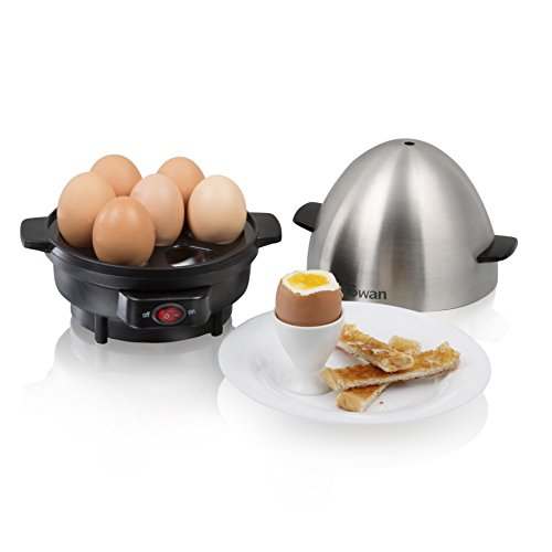 Swan SF21020N 7 Egg Boiler and Poacher, Featuring 3 Cook Settings, 350w, Black/Stainless Steel