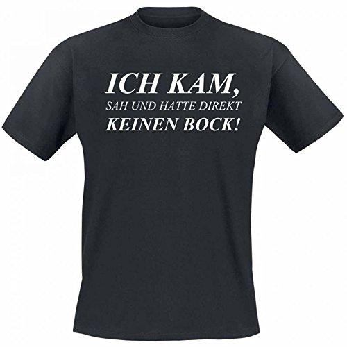 buttons-und-pins Herren Sprüche T-Shirt Ich Kam, Sah und Hatte Direkt Keinen Bock! - Größe S in Schwarz - Ein lustiges Geschenk für Männer mit Humor