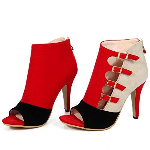 TAOFFEN Femmes Peep Toe Sandales Mode Talons Hauts Fermeture Eclair Chaussures De Boucle Rouge