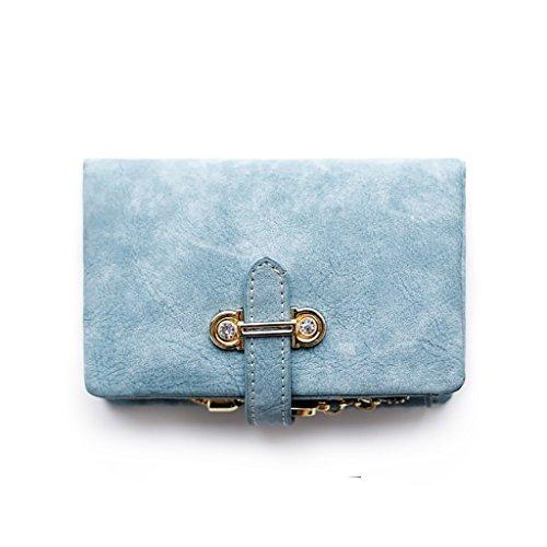 CLOTHES- LEuropa e gli Stati Uniti Lady Wallet Portafoglio multifunzionale in pelle lunga Giappone e Corea del Sud Portafoglio Portafoglio Retro Studenti ( Colore : Blu ) Blu