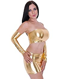 Mpitude Women s Fantasy Costume 3 Piece Shiny Golden Wet Look Babydoll Set  Sexy Costume with Mini 9618717a6