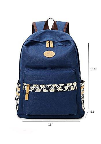 Unisex Canvas Leichte Laptop-Tasche / Schulter Daypack / Modeschule Rucksack / beiläufige Handtasche (Grün) Navy blau