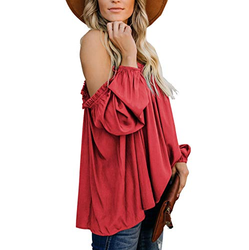 ACLOIN Damen Bluse Langarm Schulterfrei Cold Shoulder Lose Locker Top (1Rot, M) Rote Baumwolle Pullover