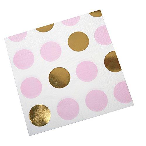 Neviti CSC Imports Juego de Works–servilletas, diseño de Lunares, Color Rosa, Pack de 16