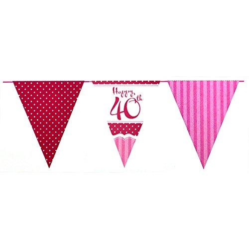 Unbekannt Creative Party Perfectly Pink Happy 40th Birthday Girlande (Einheitsgröße) (Pink/Rot/Weiß)