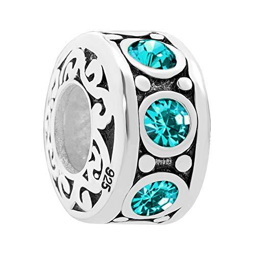 Poetic Charms Jan-Dez Simulierte Geburtsstein 12 Farben Spacer Charm Perlen kompatibele Europäisch Charme Armbänder (Swarovski-charme-armband)