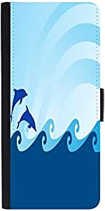 Snoogg Sea Wave And Dolphin On Blue Background Designer Protective Phone Flip Case Cover For Xolo One Hd