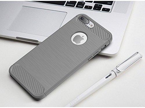 Coque iPhone 8 Plus,Coque Matériau en fibre de carbone TPU,Mince Lisse Protection Complète,Coque de protection antidérapante et anti-empreinte digitale pour iPhone 8 Plus D