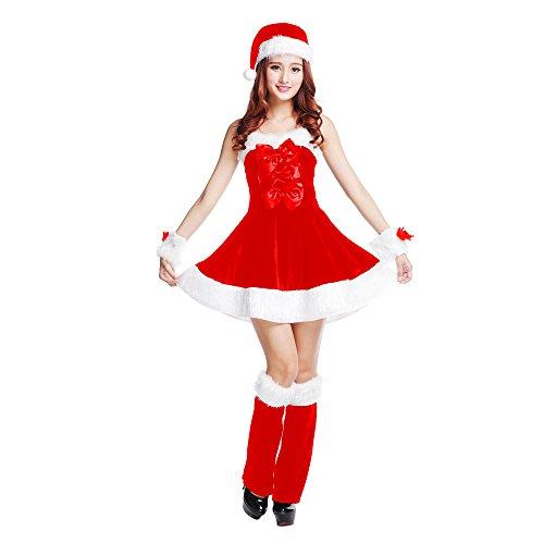 Flyhigh Frauen Sankt Sweetie Kostüm Fräulein Weihnachtsmann Weihnachtsweihnachtsabendkleid -Henne-Nacht-Kostüm-Satz Babydolls Chemises,Geschenk von Weihnachten (color (Sweetie Santa Kostüme)