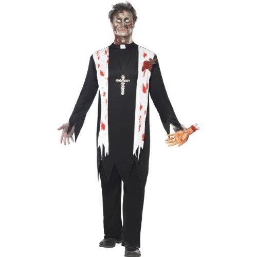tüm Zombie Priester blutig als Untoter Größe L (Untoter Priester Kostüm)
