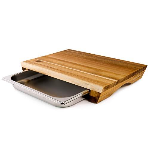 cleenbo® Schneidbrett Style Acacia, Profi Holz Küchenbrett aus geölter Akazie, Schneidebrett aus Akazienholz mit verschiebbarer Gastronorm Edelstahl Auffangschale, Board Maße: 43 x 29 x 7 cm