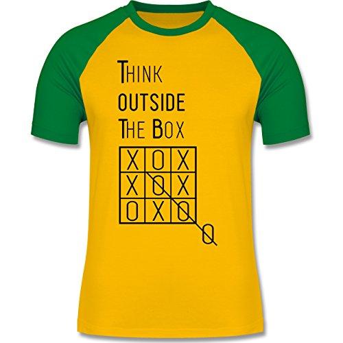 Statement Shirts - Think outside the box - zweifarbiges Baseballshirt für  Männer Gelb/Grün