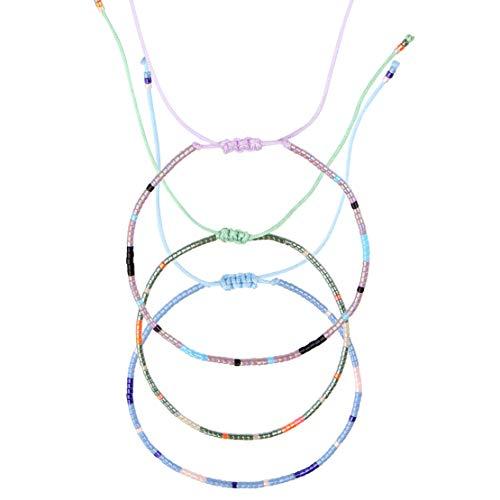 Made by Nami Armband Damen Freundschaftsarmband Surferarmband Perlenarmband 3er Set Armbänder - Surfer Schmuck auch für Herren Perlen (3er Set)