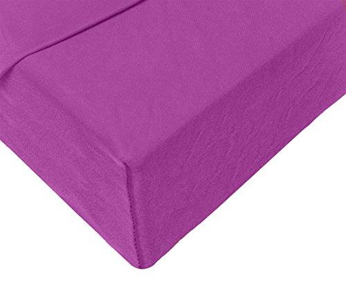 Double Jersey - Spannbettlaken 100% Baumwolle Jersey-Stretch bettlaken, Ultra Weich und Bügelfrei mit bis zu 30cm Stehghöhe, 160x200x30 Prune - 4