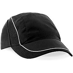 Gorra Ligera COOLMAX® FLOW Sport Cap - Ventilación + Reflexivos de Visibilidad - para Tenis / Padel / Running / Golf / Ciclismo / Deportes - Color: Negro - Mujer / Hombre (Unisex)