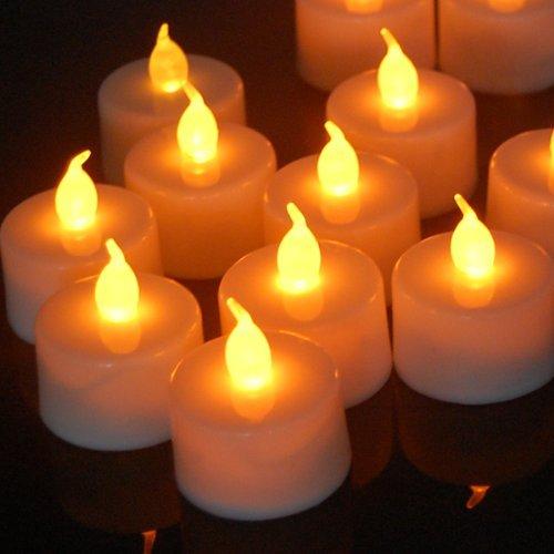 Luces de vela - SODIAL(R) 12pzs Luces de te parpadeantes LED velas con pilas para decoracion de fiesta boda