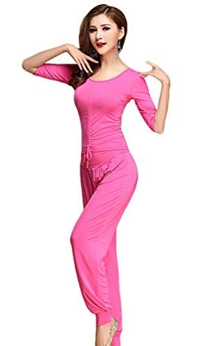 YiJee Damen Tanzkleidung Bauchtanz Kostüm Set Stammes- Indischer Tanz Top & Paillette Bauchtanz Hose Münzen Rose (Bollywood Indische Kostüme Tanz)