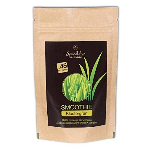 Pulver Green Mischung Smoothie (Semen Vitae Smoothie Klostergrün - Gerstengras Hildegard-Kräuter Fenchel Galgant (bio, roh, vegan) Klostergrün)