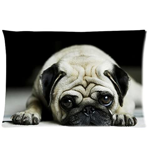 Personalized Pug Dog Pillowcase Standard Size 20x30 (one side) Soft Pillow Cover Case GPGP-067