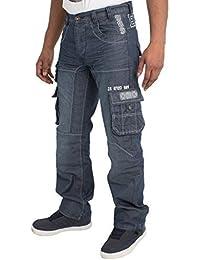 NEU Enzo Herren Designer Cargo Combat blau beschichtet Jeans Hose alle  Hüfte Größe 3ed8c44565