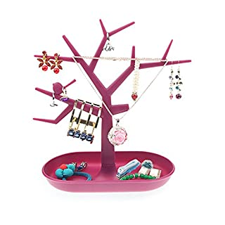 Ajusen Tree Design Jewelry Display Tower Earring Bracelet Necklace Ring Display stand (rose-red)