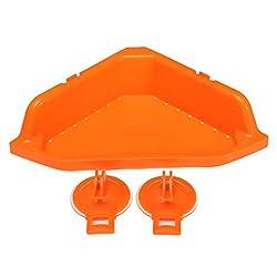 Multifunction Bathroom Kitchen Plastic Storage Corner Rack Sundries Holder Strong Sunction(Orrange)