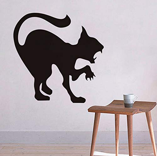 Pbldb 44X44Cm Scary Black Cat Wandaufkleber Halloween Dekoration Zischen Katze Vinyl Aufkleber Wandkunst, Wütende Katze Hallowmas Home Decor Zubehör