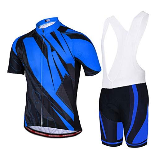 HAOHAOWU Radtrikot Shorts, Männer Sommer Fahrradanzug Kurzarmtrikot + 3D Gepolsterte Trägerhose Radsportbekleidung T-Shirts Kit Anwendbar Fahrrad MTB,Blue,L