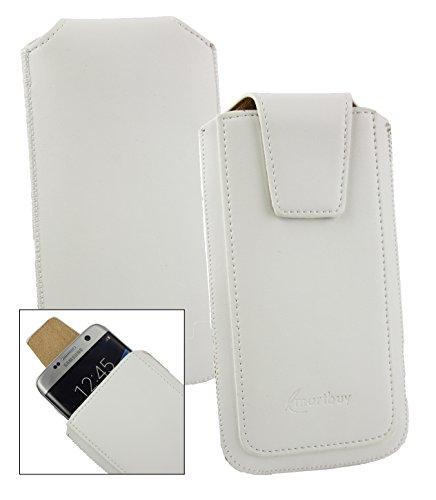 Emartbuy® Sleek Bereich Weiß PU Leder Slide in Hülle Tasche Sleeve Halter (Größe LM2) Mit Zuglasche Mechanismus Geeignet Für Slok C2 Dual SIM Smartphone