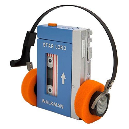 opfhörer Cosplay Walkman Authentischer HiFi-Kopfhörer mit orange Ohrpolster Stahlgitter Kostüm Zubehör (Style B+Walkman) ()