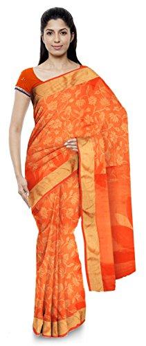 Neelam Sarees Women's Pure Banarasi Silk Saree (Orange)