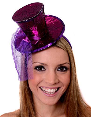 ILOVEFANCYDRESS Mini Glitter Zylinder Hut Variation =MIT Netz AN EINEM HAARREIF= ERHALTBAR IN 8 SUPER GLITZERNDEN Farben = IN VERSCHIEDENEN STÜCKZAHLEN+MIT BOA ODER OHNE = 1 LILA (Sylvester Fancy Dress Kostüm)