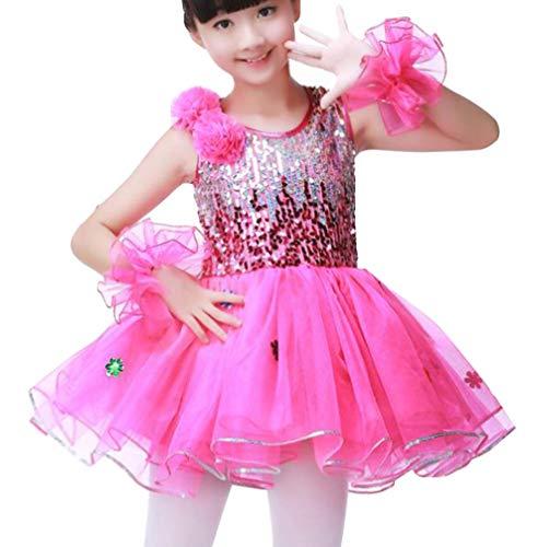 Mädchen Funkelnde Pailletten Latein Tutu-Kleid Leotard Ballettkleid/Jazz Hip Hop Dance Kostüm Trackusit Anzug für Jungen Rose Mädchen 120cm (Teenager Jazz Dance Kostüm)