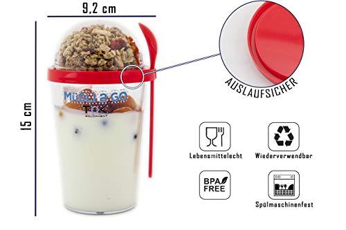 TOK Müslibecher 2 go/Joghurt to go Becher mit Löffel - komplett dicht, BPA frei, wiederverwendbar - Reise-Müsli-Becher für den gesunden Snack unterwegs - 450 ml Becher & 150 ml Deckel - Rot/Coralle