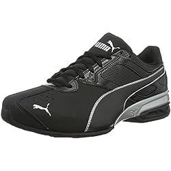Puma Tazon 6 FM Black Silver, Chaussures de Running Compétition Homme, Noir, 44 EU