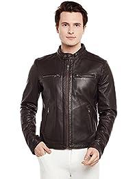 Bareskin Men's Dark Brown Ban Collar Dual zip Leather Jacket