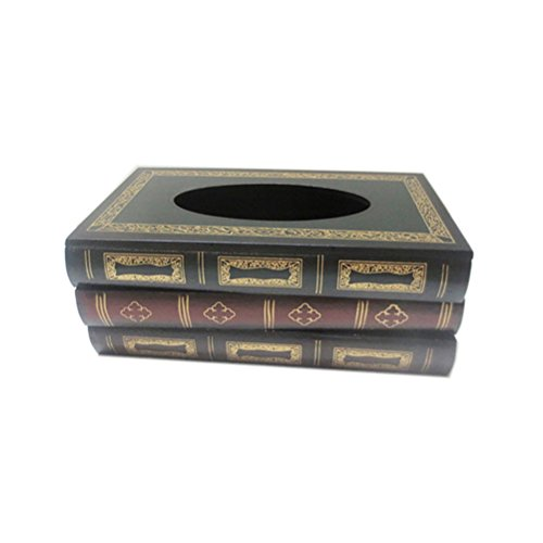 HerZii Wood Rectangular Decorative Tissue Box Cover for Office - Handmade Antique-Look Tissue Paper Holder for Car by HerZii