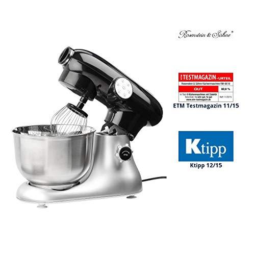 Rosenstein & Söhne Knetmaschine: Küchenmaschine KM-6618 im Retro-Design, 1200 Watt (Teigknetmaschine)